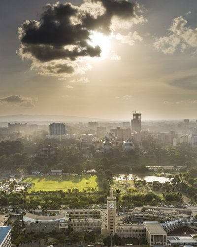 View to Uhuru Park in the business district of Nairobi, Kenya in the evening